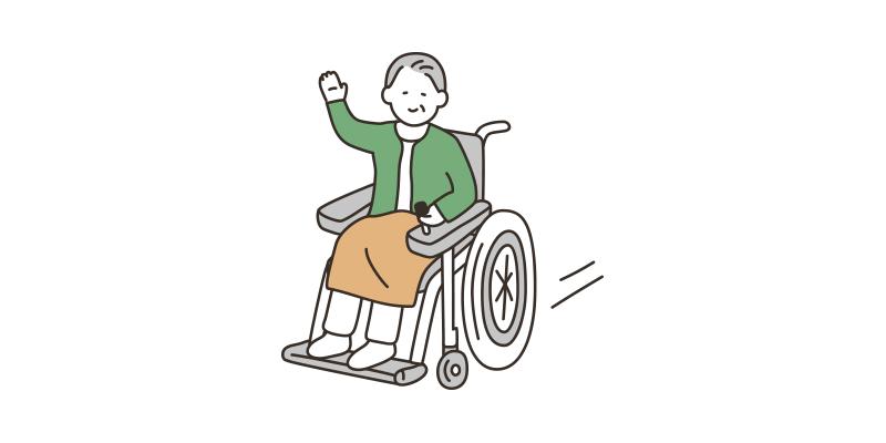 電動車イスに乗る高齢者